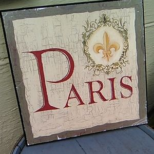 Paris distressed wooden sign